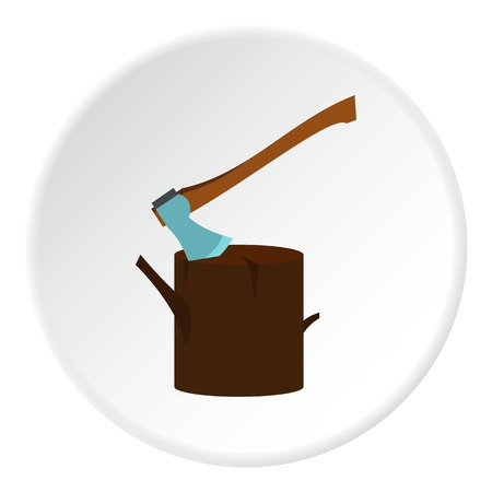 Stump with axe icon in flat circle isolated vector illustration for web Illustration