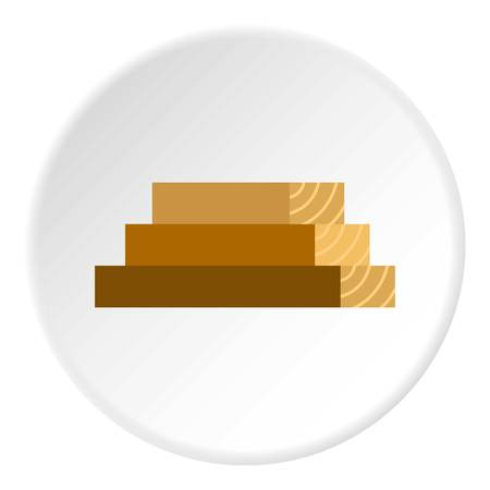 logging: Wooden boards icon in flat circle isolated vector illustration for web