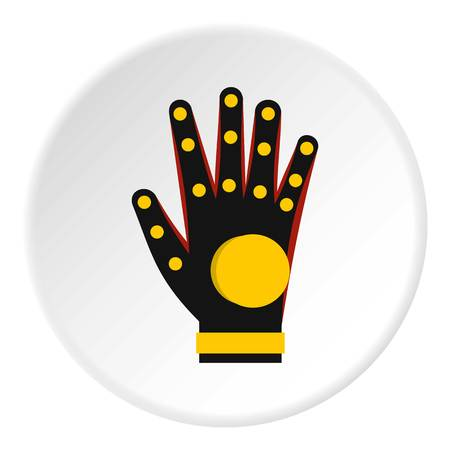 Electronic glove icon in flat circle isolated vector illustration for web Illustration