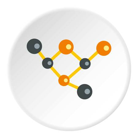 Molecules icon in flat circle isolated vector illustration for web
