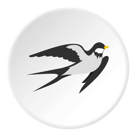 Swallow icoon in vlakke cirkel geïsoleerde vectorillustratie voor web