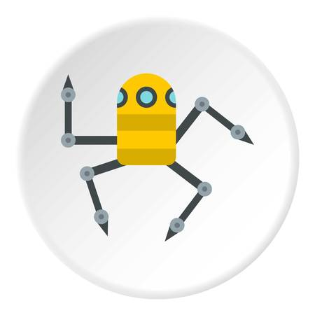 Robot spider icon in flat circle isolated vector illustration for web Illustration