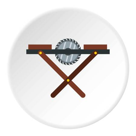 Movable circular saw icon in flat circle isolated vector illustration for web Illustration