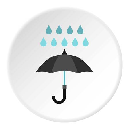 nylon: Umbrella and rain icon in flat circle isolated vector illustration for web