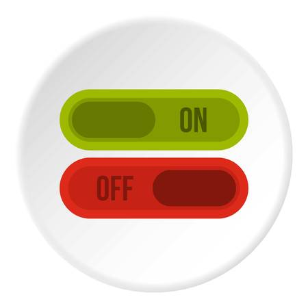 Button on and off icon in flat circle isolated vector illustration for web Illustration