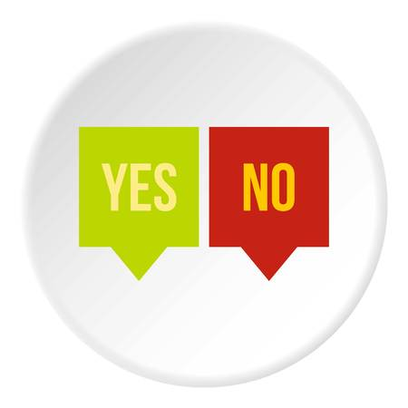 Signs of yes and no icon in flat circle isolated vector illustration for web