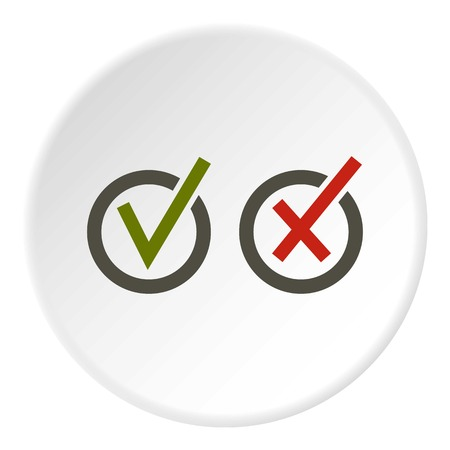 Signs of choice of tick and cross in circles icon in flat circle isolated vector illustration for web
