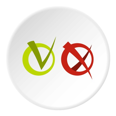 validation: Tick and cross in circles icon in flat circle isolated vector illustration for web Illustration