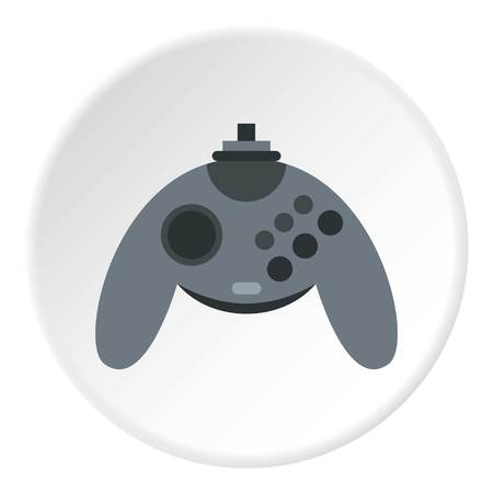 Gray joystick icon in flat circle isolated vector illustration for web