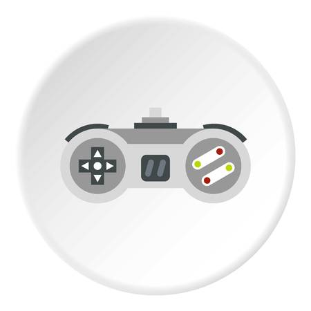 Joystick icon in flat circle isolated vector illustration for web
