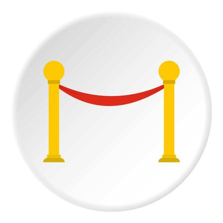 velvet rope barrier: Barrier rope icon in flat circle isolated vector illustration for web