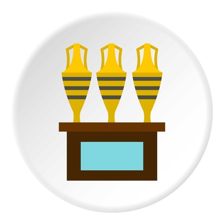 earthenware: Three egyptian vases icon in flat circle isolated vector illustration for web