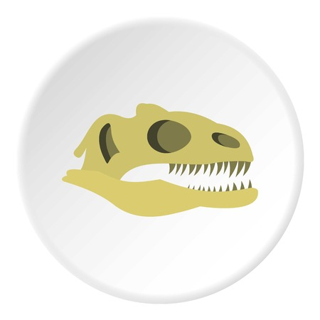 cretaceous: Dinosaur skull icon in flat circle isolated vector illustration for web Illustration