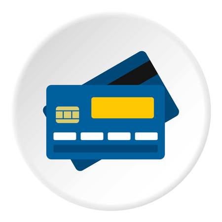 expiration: Credit card icon in flat circle isolated vector illustration for web