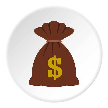 Bag with dollars icon in flat circle isolated vector illustration for web