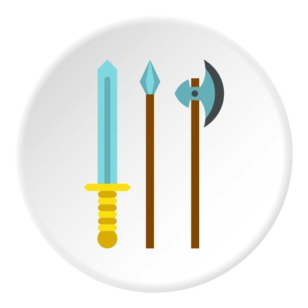 artefact: Medieval weapons icon in flat circle isolated vector illustration for web