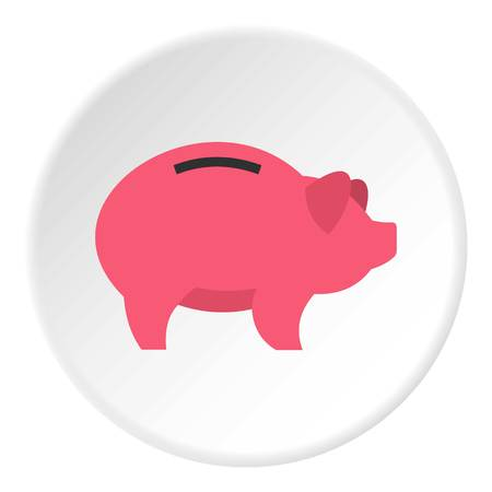 Piggy icon in flat circle isolated vector illustration for web Illustration