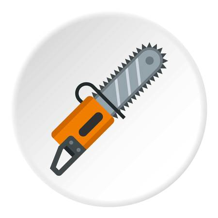 Chainsaw icon in flat circle isolated vector illustration for web