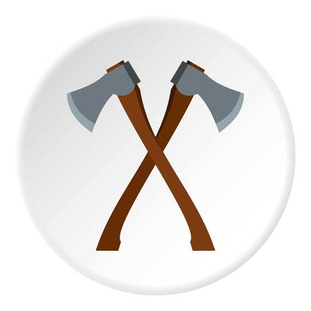 chop: 2 axe icon in flat circle isolated vector illustration for web