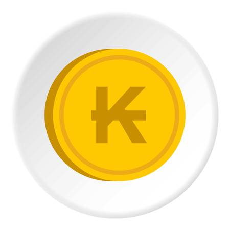 Gold coin with lao kip sign icon in flat circle isolated vector illustration for web