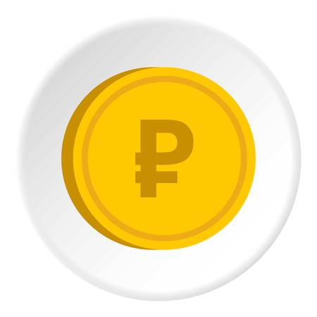 paying: Gold coin with ruble sign icon circle Illustration