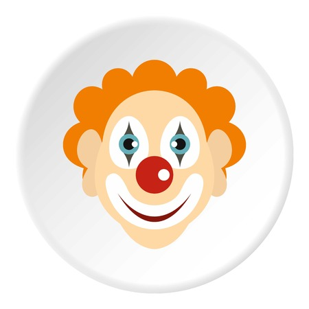 Clown icon in flat circle isolated vector illustration for web