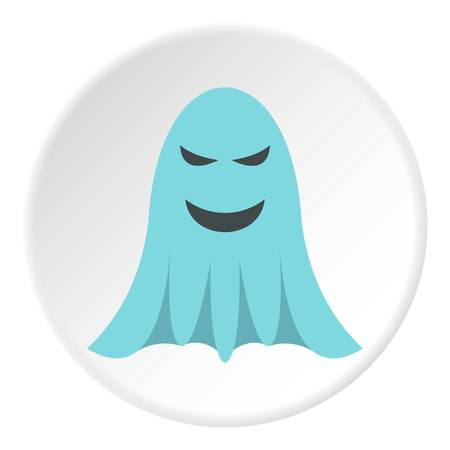 Ghost icon in flat circle isolated vector illustration for web