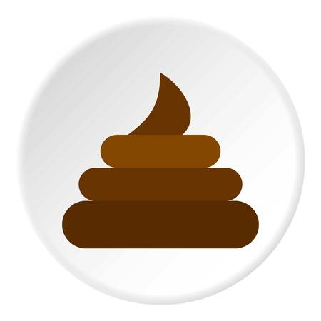 bowels: Turd icon in flat circle isolated vector illustration for web