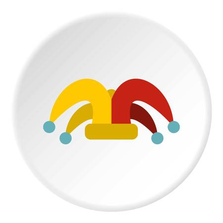 Clown hat icon in flat circle isolated vector illustration for web