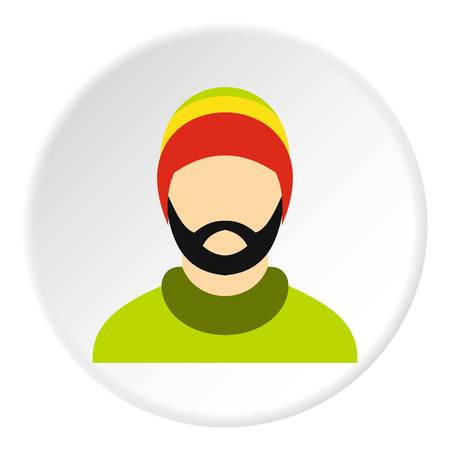 subculture: Man wearing rastafarian hat icon in flat circle isolated vector illustration for web