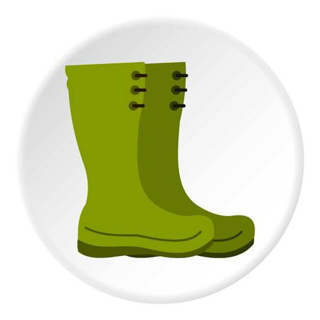 Rubber boots icon in flat circle isolated vector illustration for web