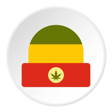 jamaican: Hat in rastafarian colors icon in flat circle isolated vector illustration for web Illustration