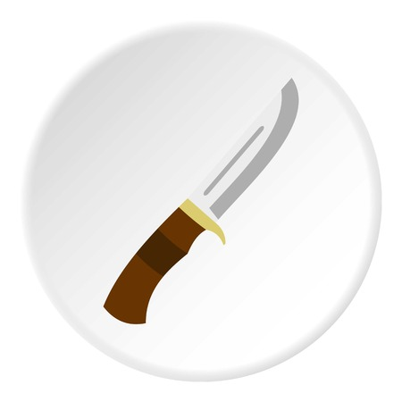 Knife icon in flat circle isolated vector illustration for web