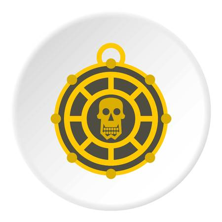 Human skull aztec medallion icon in flat circle isolated vector illustration for web