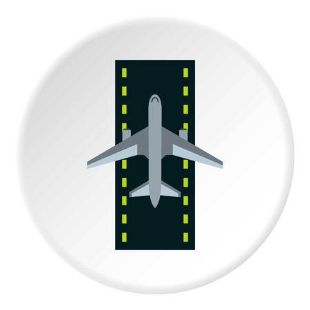 Airstrip with airplane icon circle