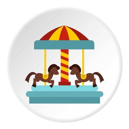 Merry go round horse ride icon circle Illustration