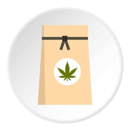 legalize: Paper bag of medical marijuana icon circle Illustration