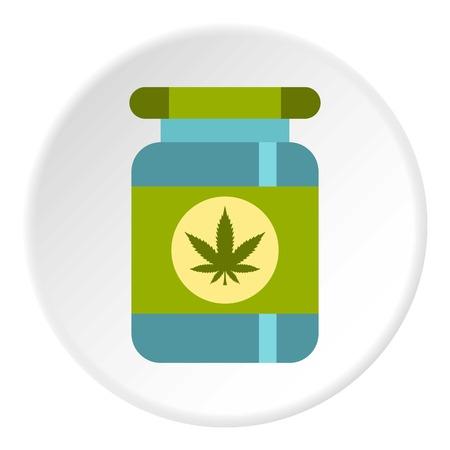 Medical marijua bottle icon circle