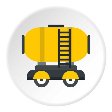 Wagon storage tank with oil icon circle