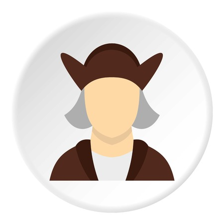 Man wearing in Christopher Columbus costume icon Vector Illustration