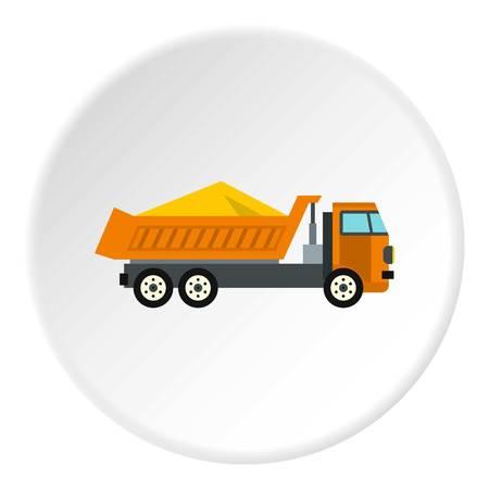 Camión con círculo de icono de arena