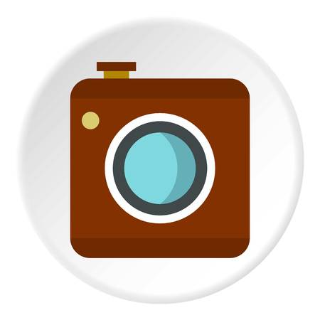 photographing: Retro camera icon in flat circle isolated vector illustration for web