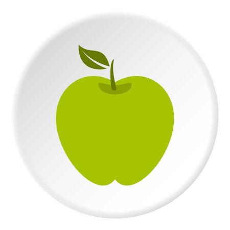 vitality: Green apple icon circle Illustration