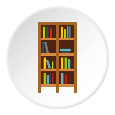 reader: Shelf of books icon in flat circle isolated vector illustration for web