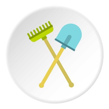 Shovel and rake icon circle