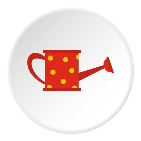 Red watering can icon circle Illustration