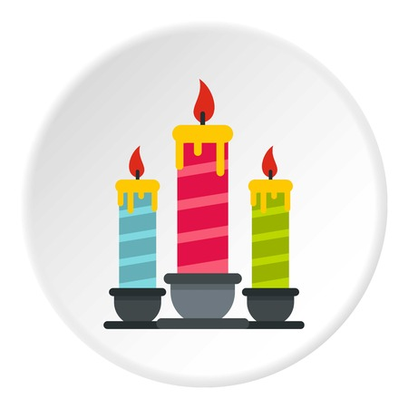 Festive candles icon circle Illustration