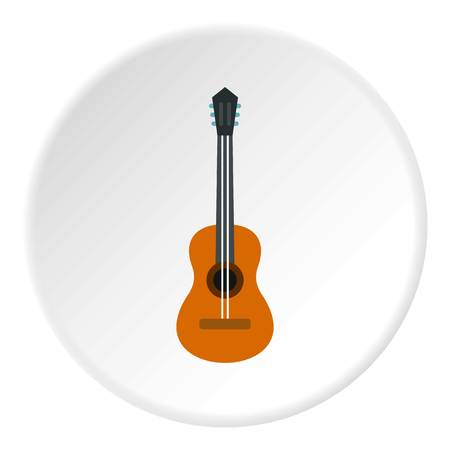 Guitar icon in flat circle isolated vector illustration for web Illustration