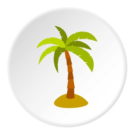 beach sunset: Palm icon in flat circle isolated vector illustration for web