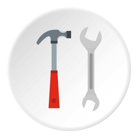 Hammer and wrench icon circle